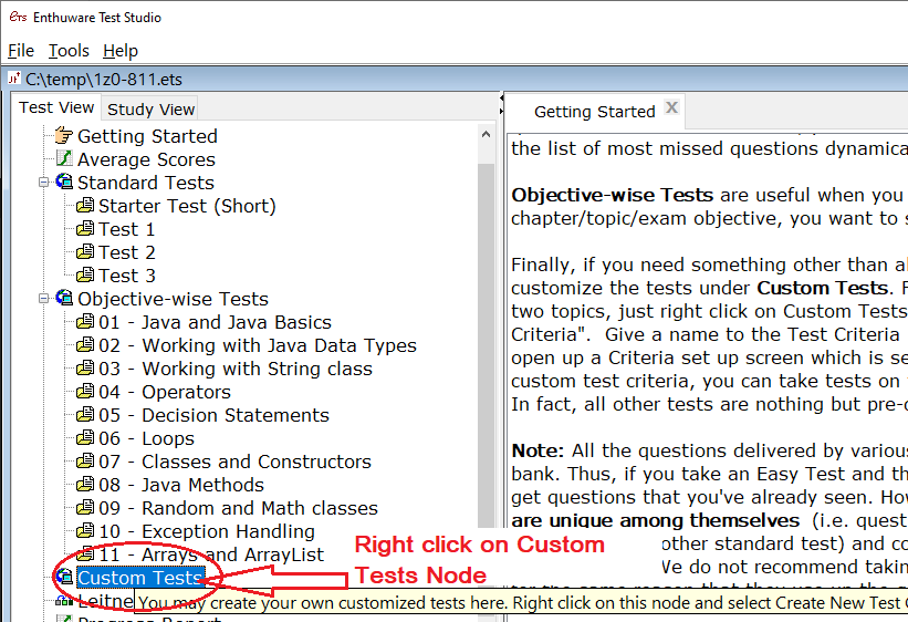 Right click on Custom Tests node to create a Test Criteria first