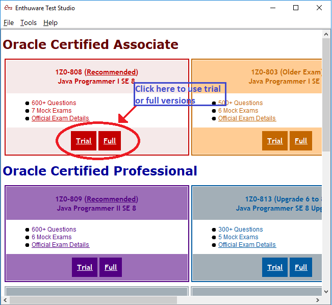 Java Certification – OCAJP 8 OCP 11 Questions Mock exams 1Z0