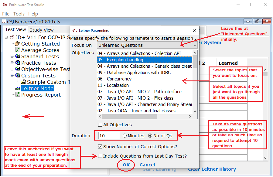 How to select questions in Leitner Mode